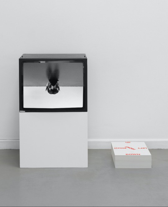 Alexandra Bachzetsis, Instruction Pieces, Ausstellungsansicht Neuer Berliner Kunstverein, 2019: This Side Up (Video, Poster, 2007, in Kooperation mit Julia Born) © Neuer Berliner Kunstverein / Jens Ziehe