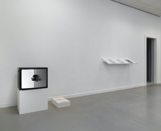 Alexandra Bachzetsis, Instruction Pieces, Ausstellungsansicht Neuer Berliner Kunstverein, 2019: This Side Up (Video, Poster, 2007), Secret Instructions (Künstlerinnenpublikationen, 2005–2010), alle in Kooperation mit Julia Born © n.b.k. / Jens Ziehe